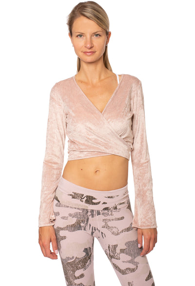Hard Tail Forever - Pane Velour Wrap Bell Sleeve (WOOD-08, Crushed Rose)