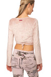 Hard Tail Forever - Pane Velour Wrap Bell Sleeve (WOOD-08, Crushed Rose) alt view 2