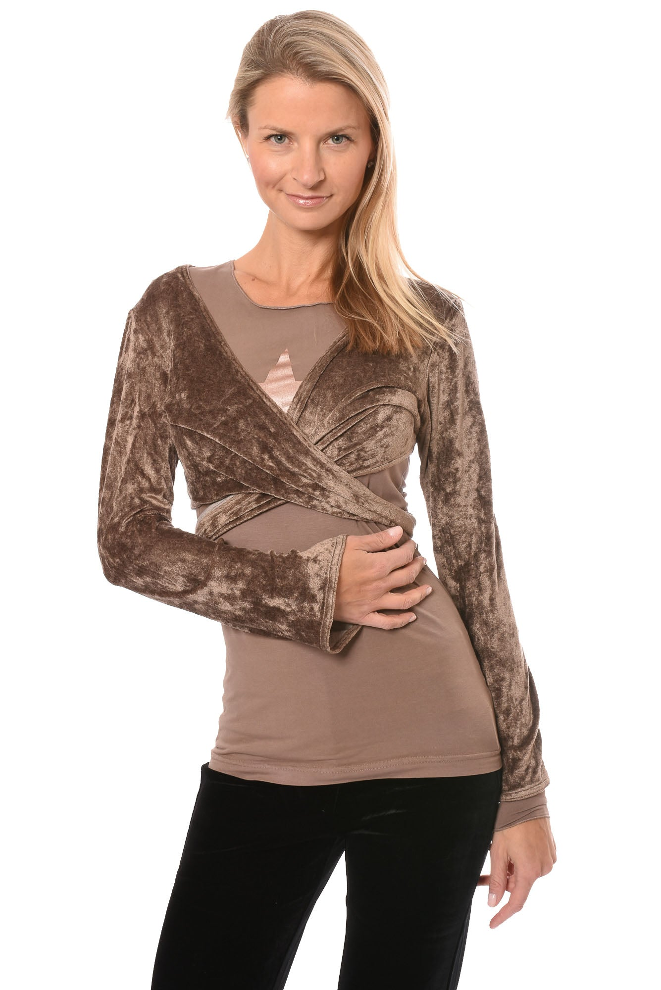 Hard Tail Forever - Pane Velour Wrap Bell Sleeve (WOOD-08, Latte)