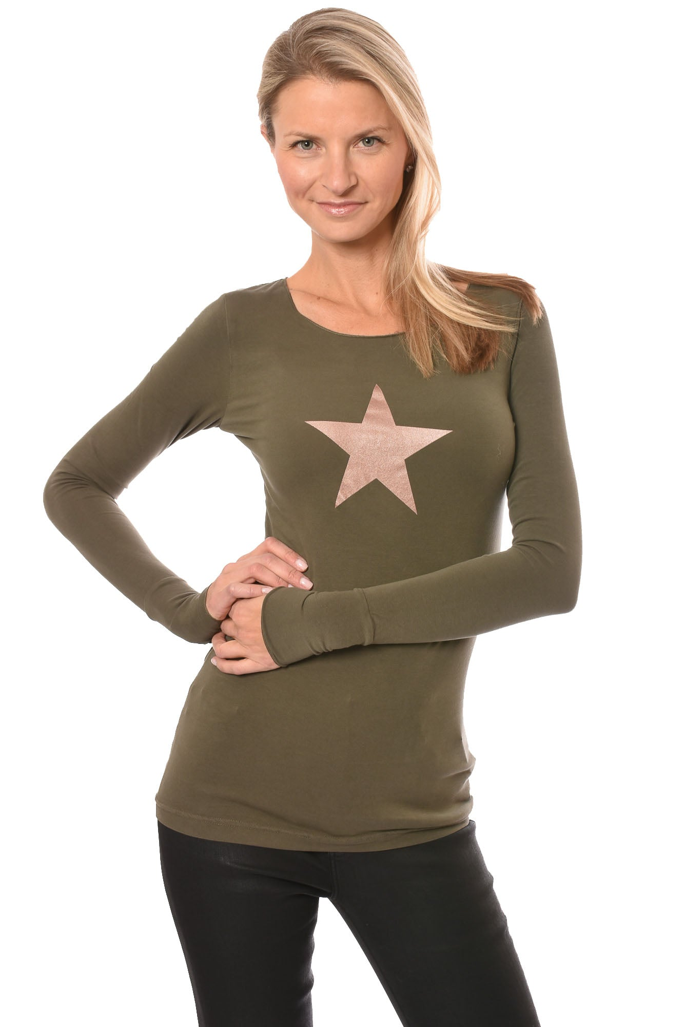 Hard Tail Forever - Long Sleeve Thumbhole W/Rose Gold Star (SL-143-501, Olive & w/Rose Gold Star)
