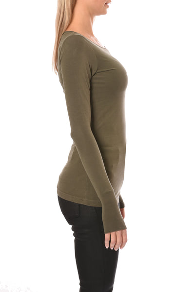 Hard Tail Forever - Long Sleeve Thumbhole W/Rose Gold Star (SL-143-501, Olive & w/Rose Gold Star) alt view 2