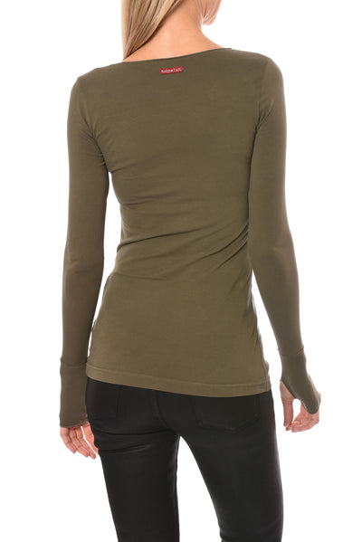 Hard Tail Forever - Long Sleeve Thumbhole W/Rose Gold Star (SL-143-501, Olive & w/Rose Gold Star) alt view 3