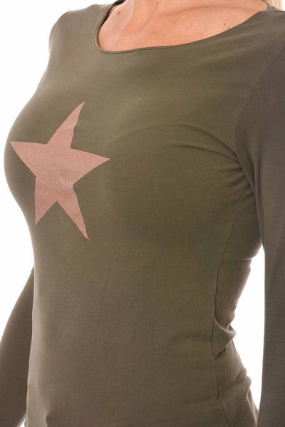Hard Tail Forever - Long Sleeve Thumbhole W/Rose Gold Star (SL-143-501, Olive & w/Rose Gold Star) alt view 6