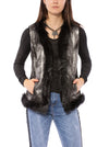 Metallic Vest W/Faux Trim (Style ALI009, Metallic Black/Silver) by Pia Rossini