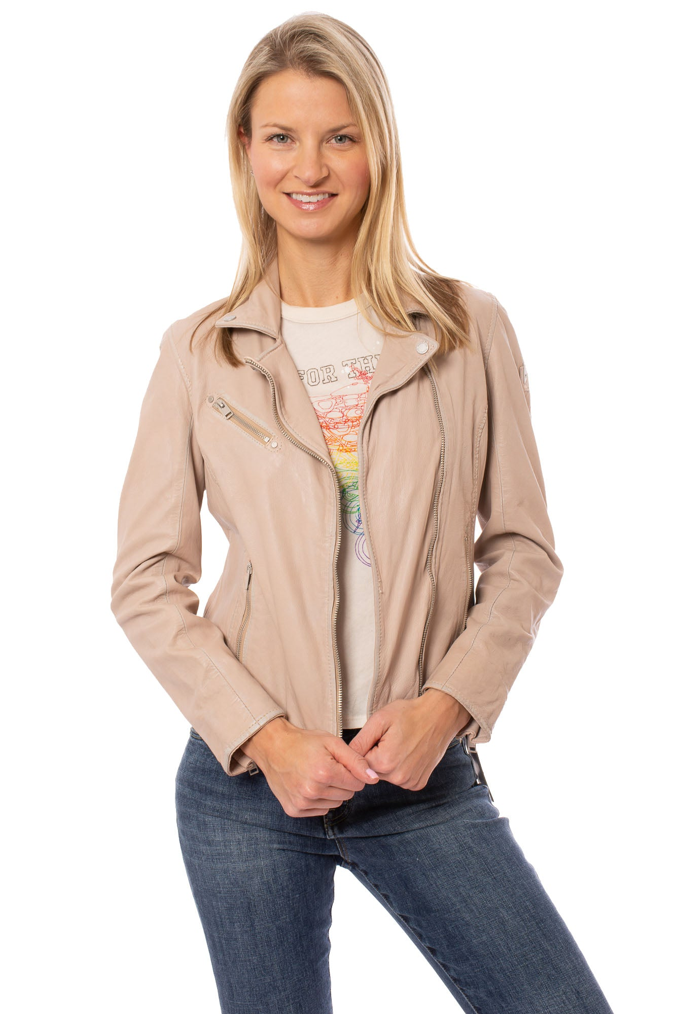 Mauritius - Sofia 4 Lambskin Leather Moto Jacket (SOFIA 4, Pink Lambs Leather)