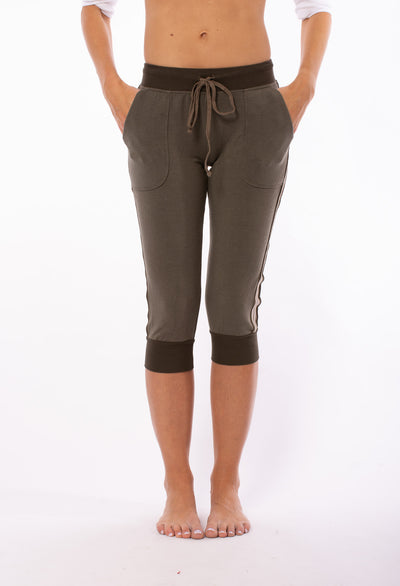 Fleece Capri Jogger w/Racer Stripe (Style CLO-16, Thyme) by Hard Tail Forever
