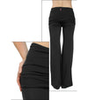 French Terry Roll Down Wide Leg Pant (Style TRI-17, Black) by Hard Tail Forever