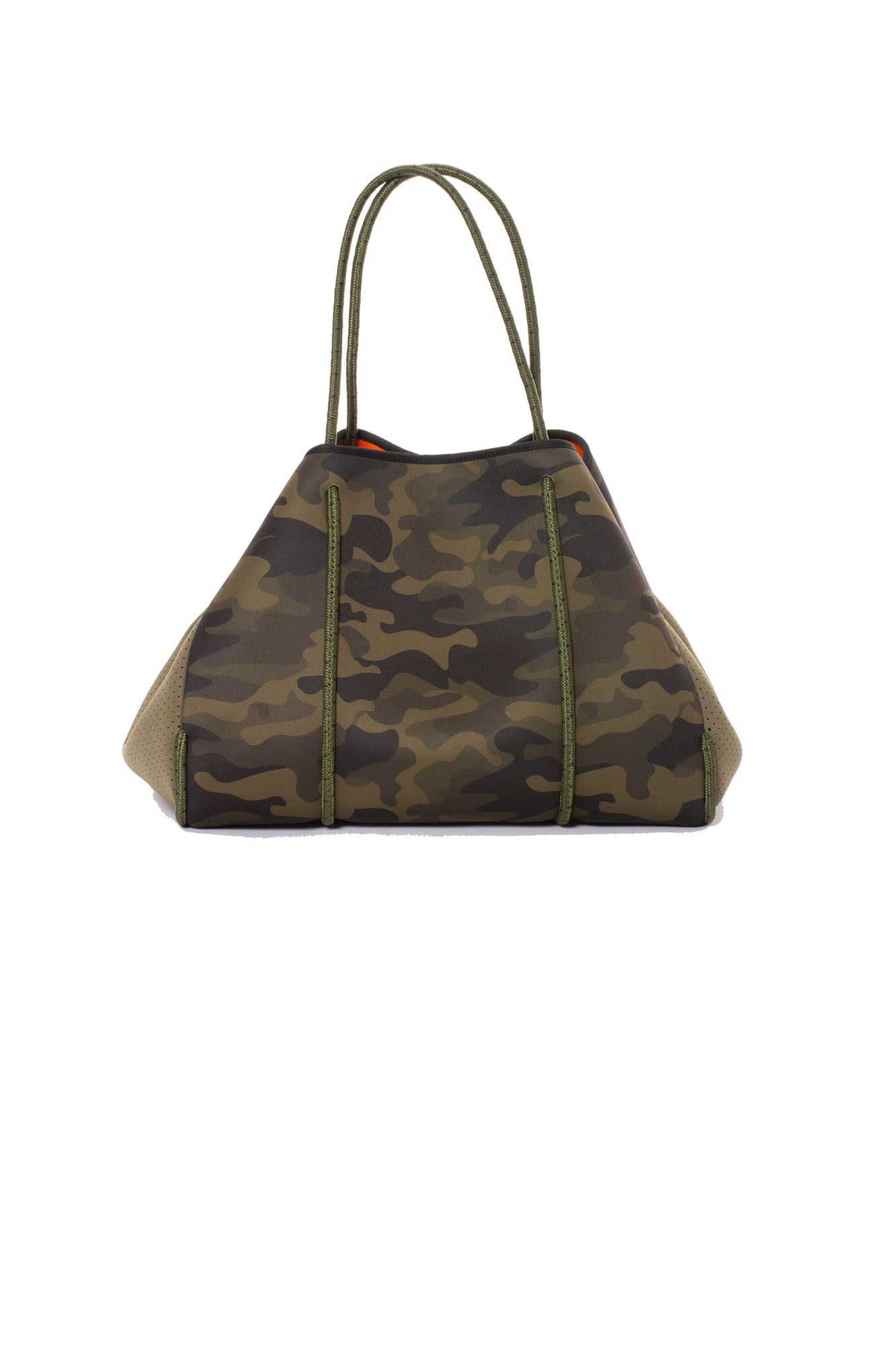 Haute Shore - Greyson Remix Neoprene Tote Bag w/Zipper and Wristlet Inside (greyson remix, Camo & Orange)