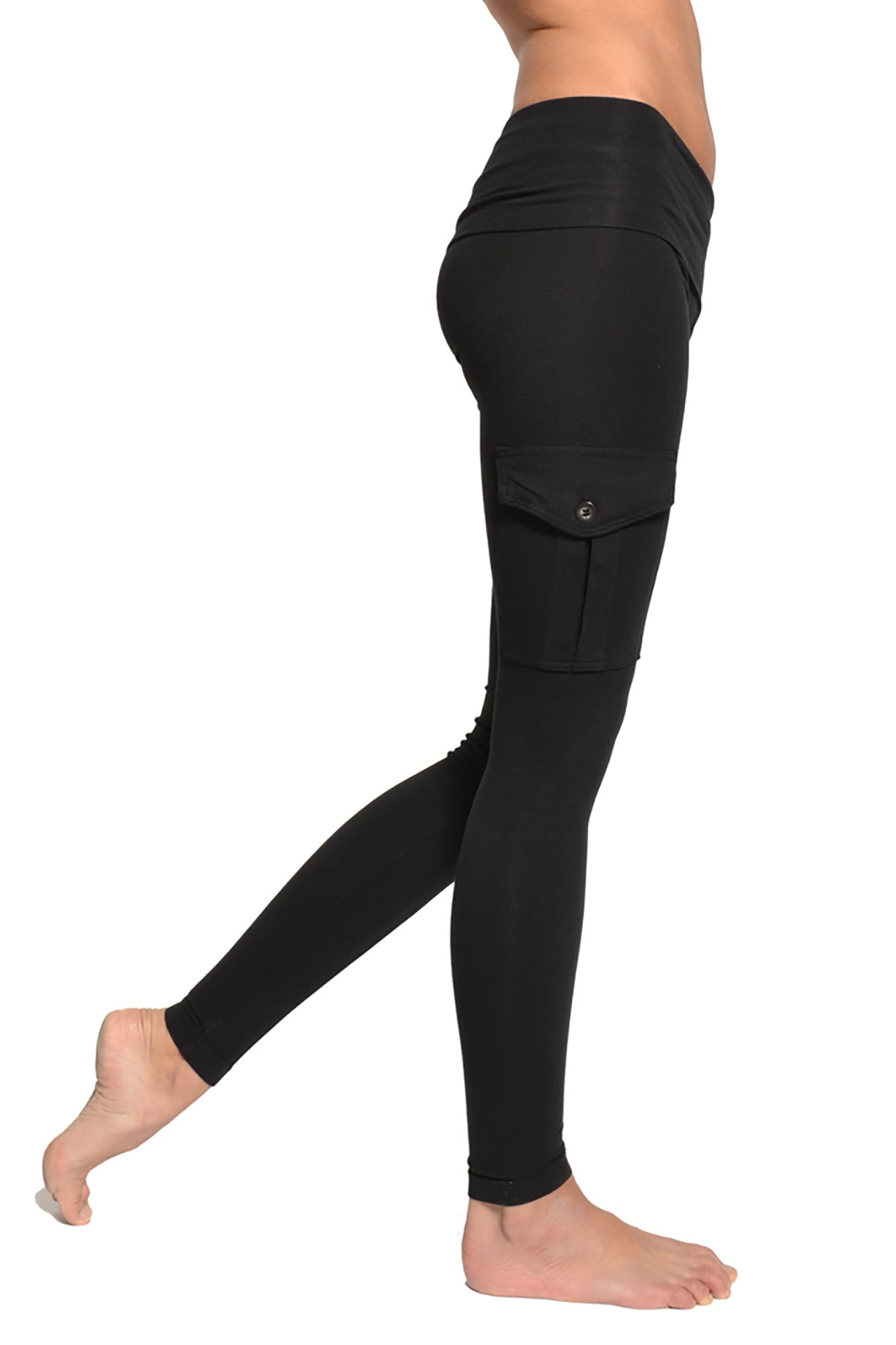Roll Down Cargo Ankle Leggings (Style W-443, Black) by Hard Tail Forever