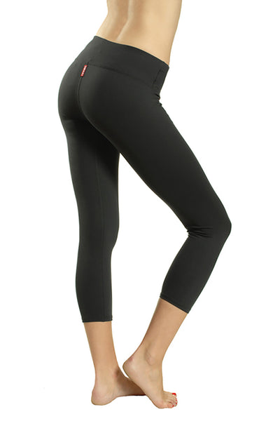 Supplex Flat Waist Capri (Style SUP-04, Black) by Hard Tail Forever alt view 1