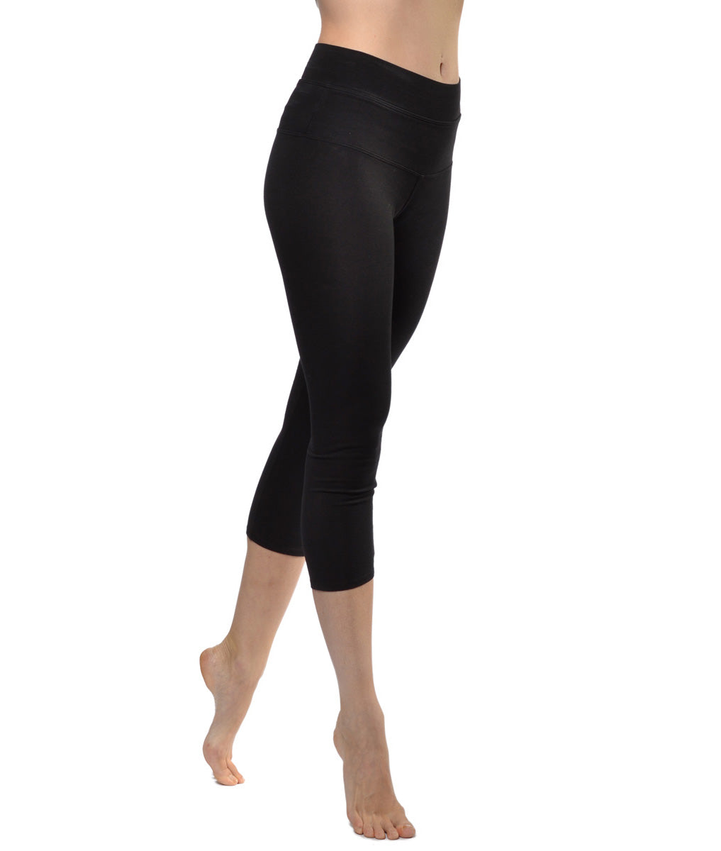 High Rise Capri Legging (Style W-614, Black) by Hard Tail Forever