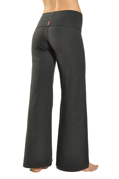 Wide Leg Roll Down Pants (Style W-326, Dark Charcoal) by Hard Tail Forever alt view 1