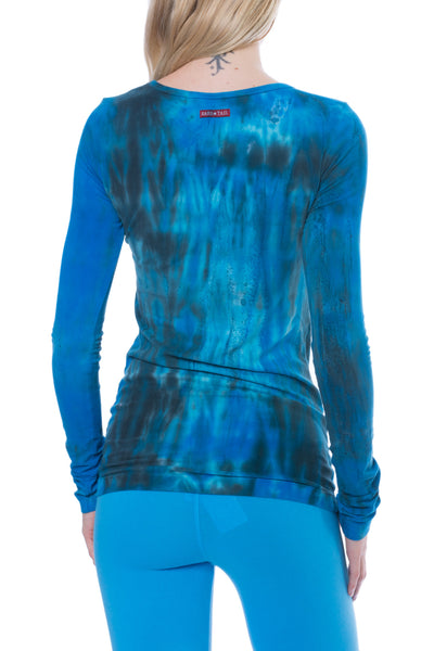 Supima/Lycra Long Sleeve Scoop Tee (Style SL-69, Tie-Dye BAM3) by Hard Tail Forever alt view 1