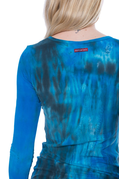 Supima/Lycra Long Sleeve Scoop Tee (Style SL-69, Tie-Dye BAM3) by Hard Tail Forever alt view 3