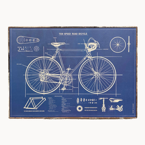 Bicycle Blueprint Framed Poster