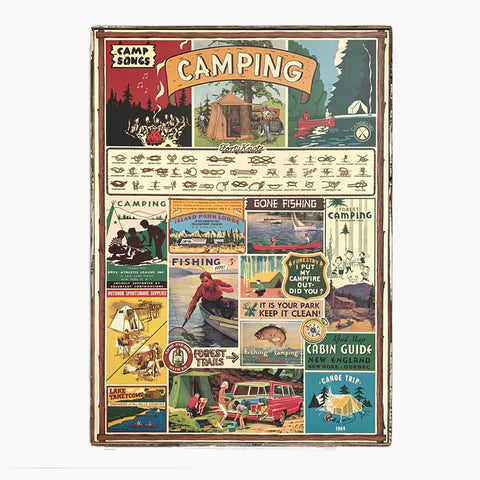 framed cavallini camping paper poster