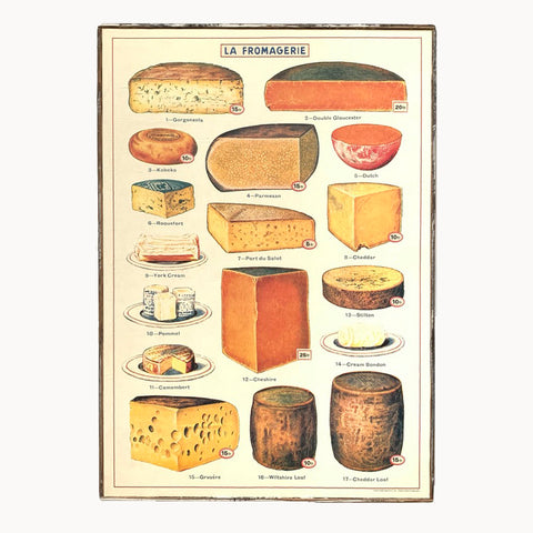 framed cavallini cheese paper poster