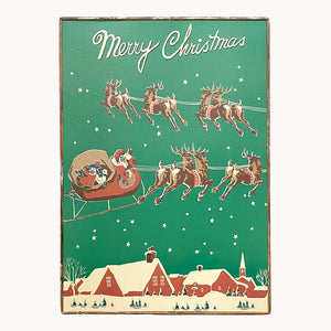 Merry Christmas Santa's Sleigh Ride Framed Poster