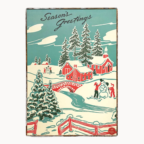 framed cavallini seasons greetings village paper poster