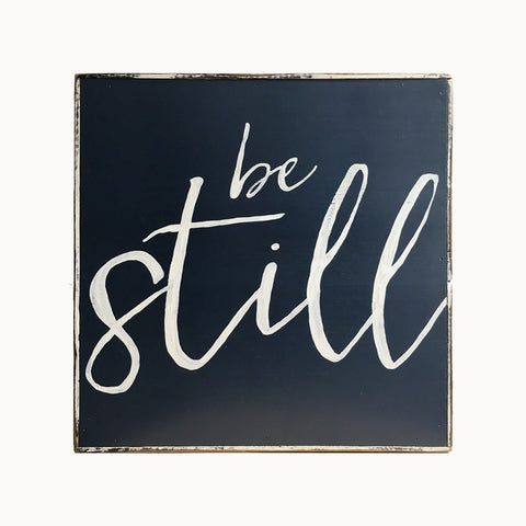 Be still and know painting in navy blue
