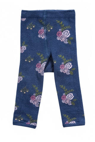Indigo Flowers Sweater Knit Jacquard Legging