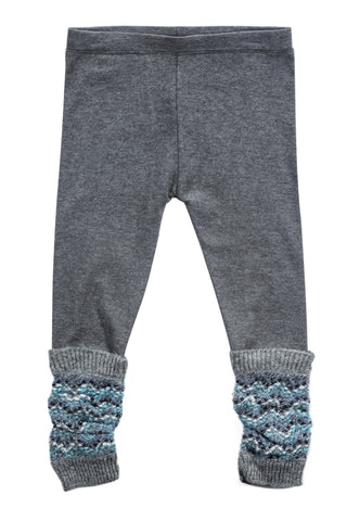 Pebble Garden Fringe Scrunchy Sweater Legging-Blue