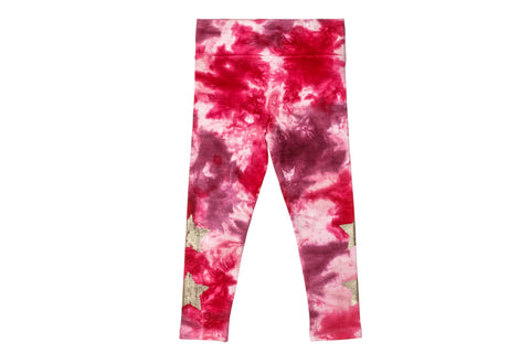 Hand Dyed Gold Star Legging- Rose