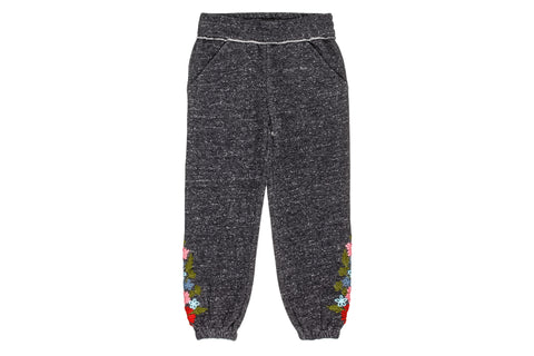 Marled Yarn Embroidered Sweatpants