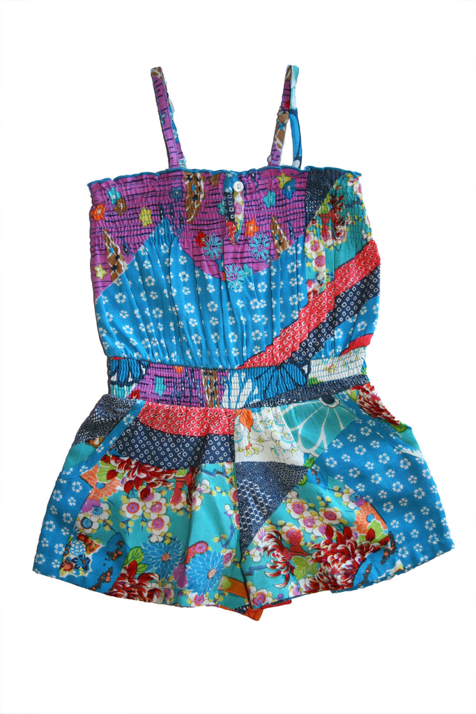 Tea Leaves Romper-Blue