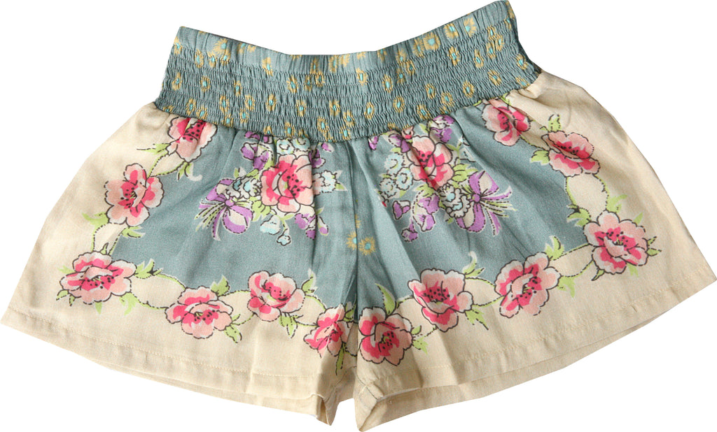 Wondering Garden Shorts-Blue