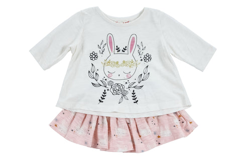 Bunny Flowers Tee + Skirt 2 PC Set