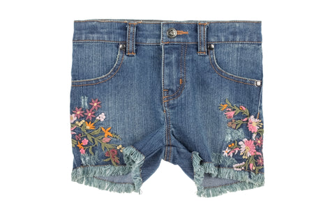 Embroidered Flowers Shorts