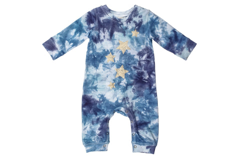 Golden Stars Tie-dyed Romper- Blue