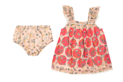 Modern Dots Dress & Diaper Cover- Blush