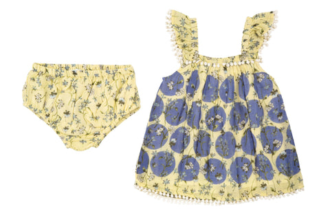 Modern Dots Dress & Diaper Cover- Yellow