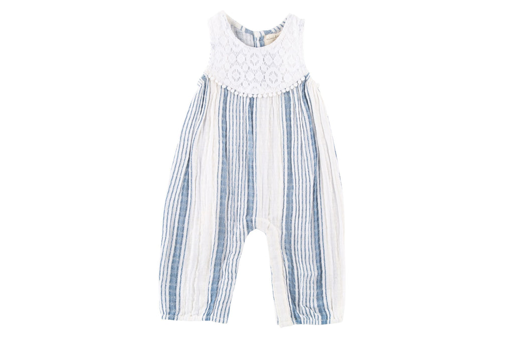 Textured Big Stripe Long Romper