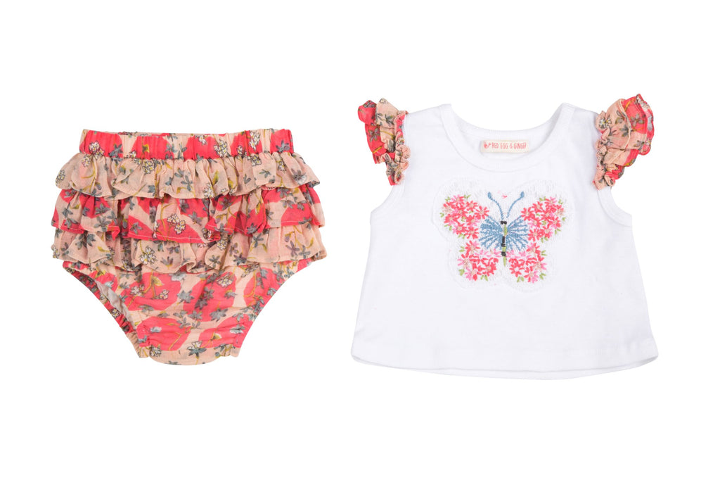Butterfly & Ruffle Dots 2 Piece Set- Blush