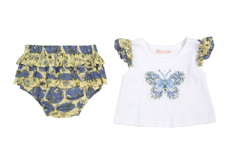 Butterfly & Ruffle Dots 2 Piece Set- Yellow