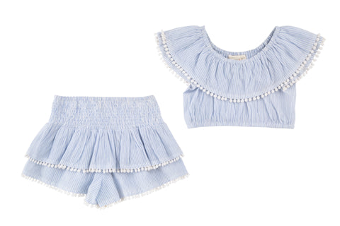 Allie Ruffle Crop Top & Tiered Skort