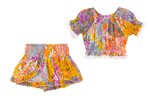 Thousand Flowers Top & Short 2 Piece Set