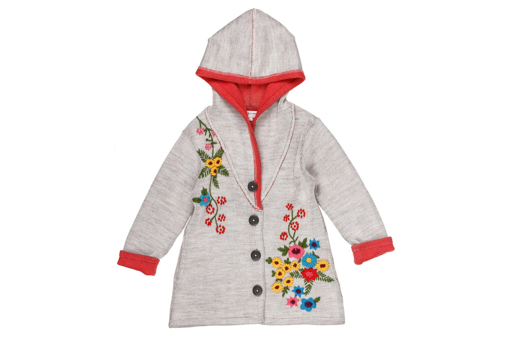 Sweater Flowers Embroidered Coat