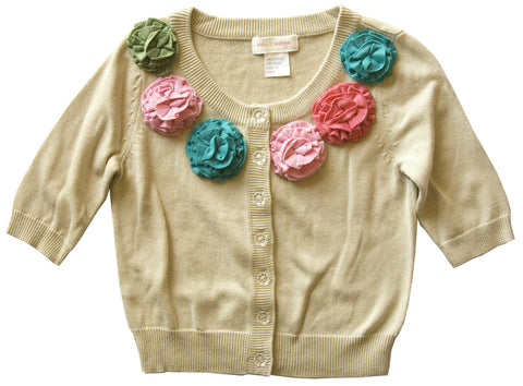 Autumn Flowers Cardigan - Natural