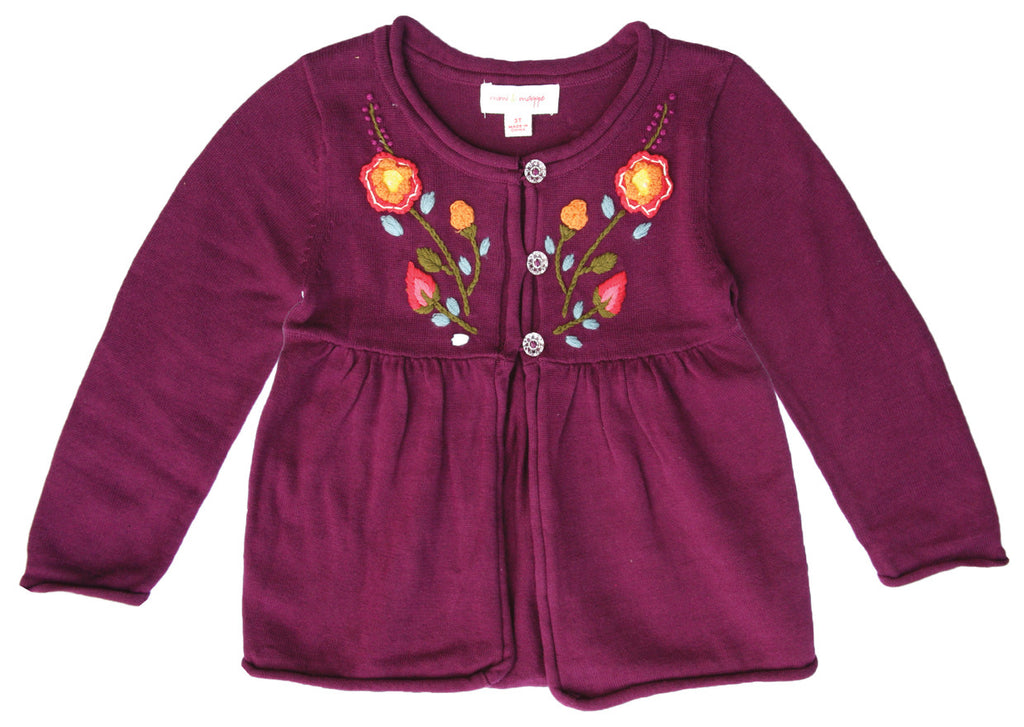 Peasant Bohemian Cotton Cardigan Plum-sweaters