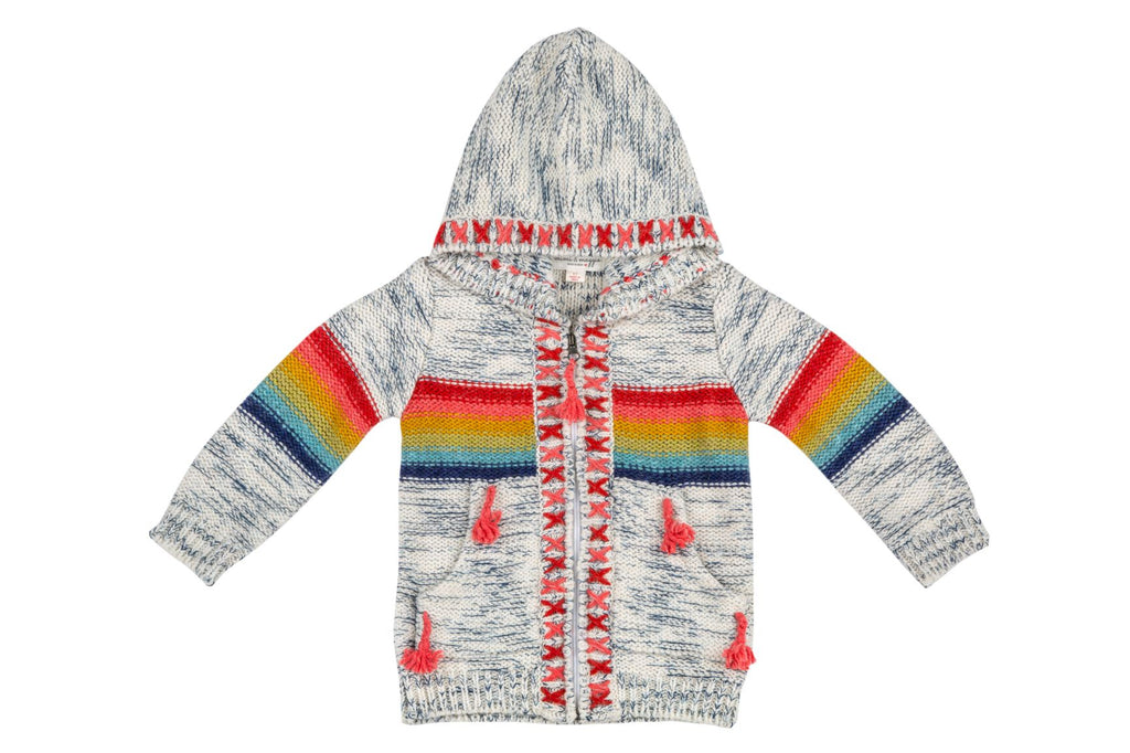 Rainbow Stripe Sweater w/ Hand Embroidery