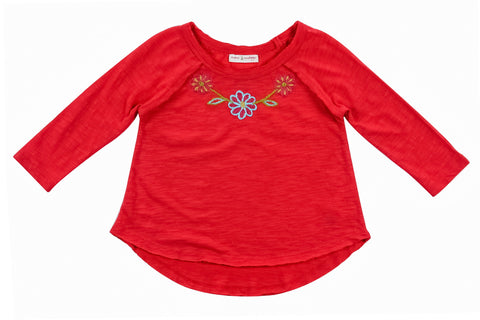 Wool Flowers Embroidered Knit Top