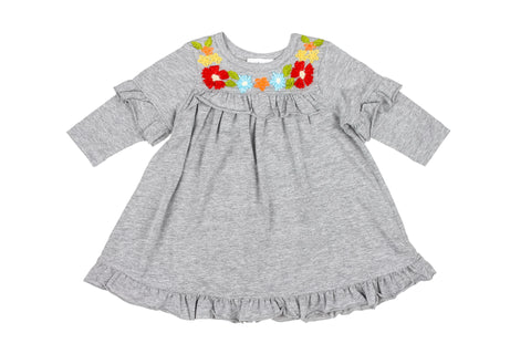 Ruffle Tee Embroidered Dress- Gry