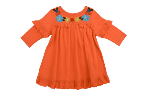 Ruffle Tee Embroidered Dress- Orange