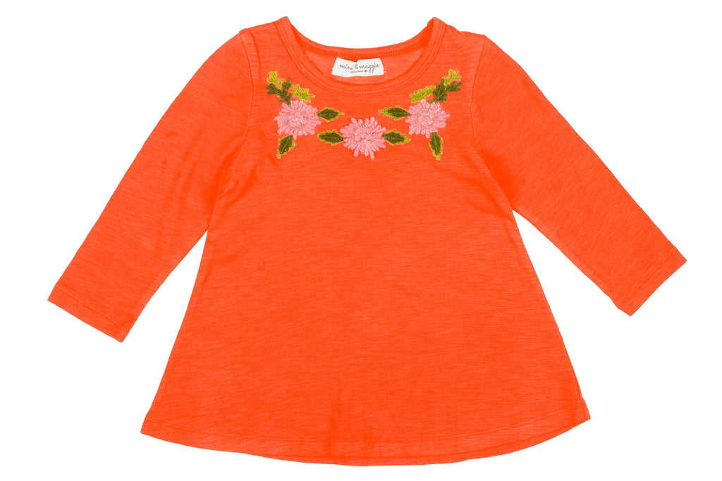Wooly Flowers Embroidered Tee- Orange