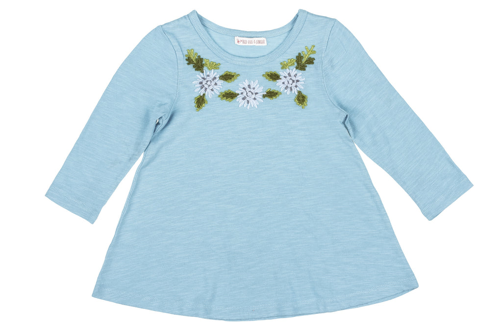 Wooly Flowers Embroidered Tee- Teal