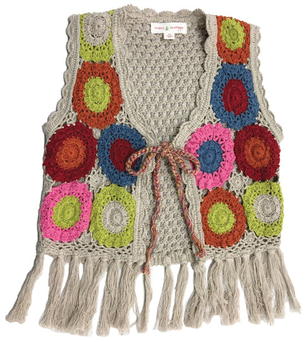 70's  Hand Crocheted Hippie Vest-vests